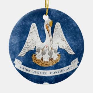 De Vlag van de Staat van Louisiane Rond Keramisch Ornament