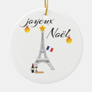 De Vlag van de Toren van Eiffel van Frankrijk Rond Keramisch Ornament