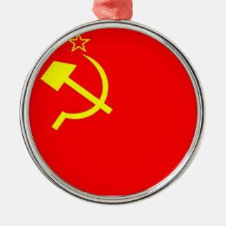 De Vlag van de USSR Zilverkleurig Rond Ornament