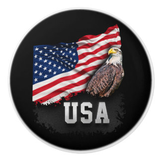 De Vlag van de V.S. met Kaal Eagle vierde van Juli Keramische Knop