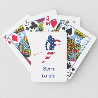 De Vlag van de V.S. van Amerika Ski?ende Amerikaan Bicycle Speelkaarten