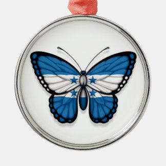De Vlag van de Vlinder van Honduras Zilverkleurig Rond Ornament