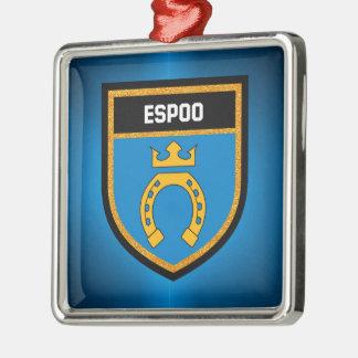 De Vlag van Espoo Zilverkleurig Vierkant Ornament