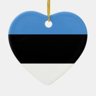 De vlag van Estland helemaal over ontwerp Keramisch Hart Ornament