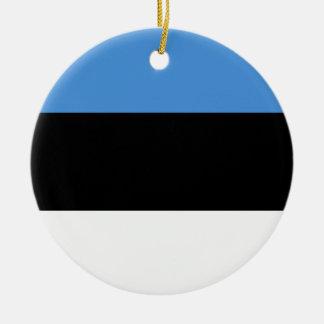 De Vlag van Estland Rond Keramisch Ornament