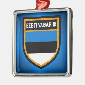 De Vlag van Estland Zilverkleurig Vierkant Ornament