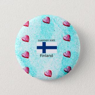 De Vlag van Finland en het Finse Ontwerp van de Ronde Button 5,7 Cm