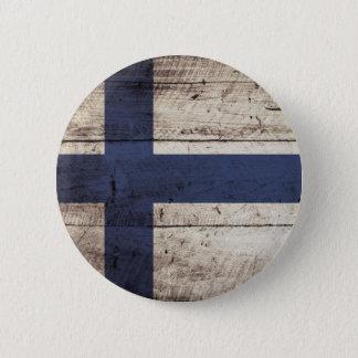 De Vlag van Finland op Oude Houten Korrel Ronde Button 5,7 Cm