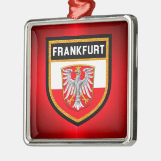 De Vlag van Frankfurt Zilverkleurig Vierkant Ornament