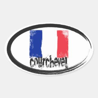 De Vlag van Grunge van Courchevel Ovale Sticker