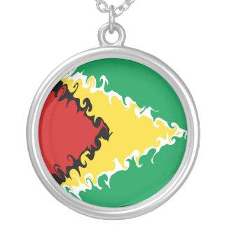 De Vlag van Guyana Gnarly Zilver Vergulden Ketting