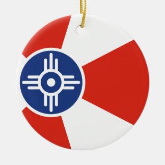 De Vlag van ICT van Wichita Kansas Rond Keramisch Ornament