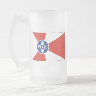 De Vlag van ICT van Wichita KS Matglas Bierpul