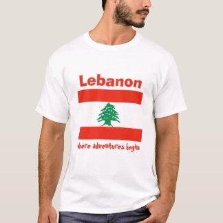De Vlag van Libanon + Kaart + De T-shirt van de