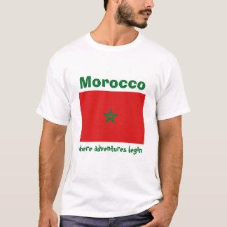 De Vlag van Marokko + Kaart + De T-shirt van de