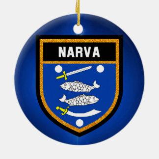 De Vlag van Narva Rond Keramisch Ornament