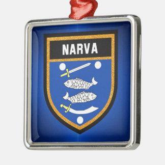 De Vlag van Narva Zilverkleurig Vierkant Ornament