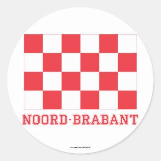 De Vlag van Noord-Brabant met naam Ronde Sticker