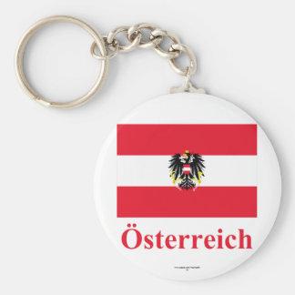 De Vlag van Oostenrijk met Naam in het Duits Basic Ronde Button Sleutelhanger