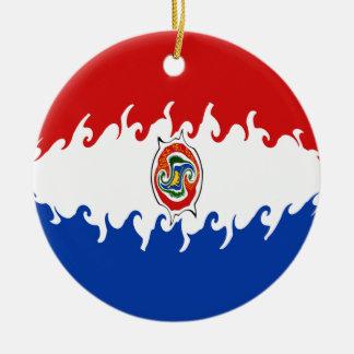 De Vlag van Paraguay Gnarly Rond Keramisch Ornament