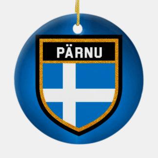 De Vlag van Pärnu Rond Keramisch Ornament