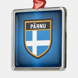 De Vlag van Pärnu Zilverkleurig Vierkant Ornament