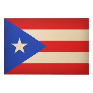 De Vlag van Puerto Rico Hout Afdruk