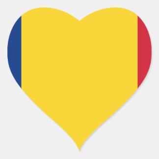 De vlag van Roemenië Hartvormige Sticker