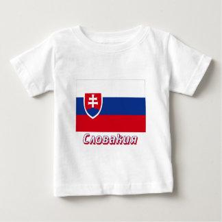 De Vlag van Slowakije met naam in Rus Baby T Shirts