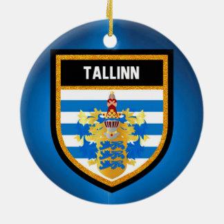 De Vlag van Tallinn Rond Keramisch Ornament