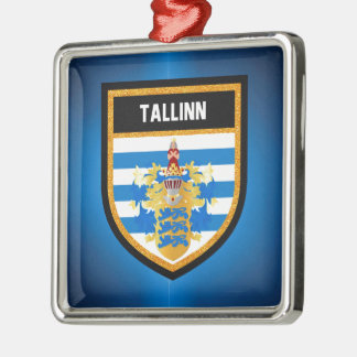 De Vlag van Tallinn Zilverkleurig Vierkant Ornament