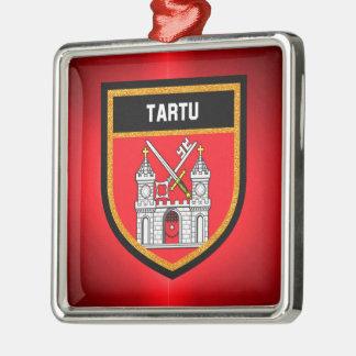 De Vlag van Tartu Zilverkleurig Vierkant Ornament