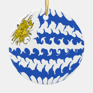 De Vlag van Uruguay Gnarly Rond Keramisch Ornament