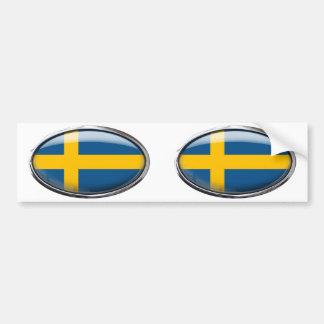 De Vlag van Zweden in het Ovaal van het Glas Bumpersticker