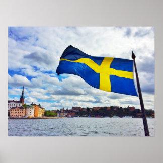 De vlag van Zweden Poster