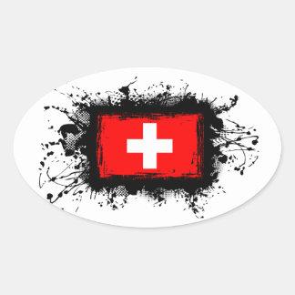 De Vlag van Zwitserland Ovale Sticker