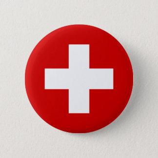 De vlag van Zwitserland Ronde Button 5,7 Cm
