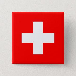 De Vlag van Zwitserland Vierkante Button 5,1 Cm