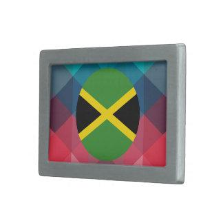 De vlagcirkel van Jamaïca op moderne bokeh Gesp