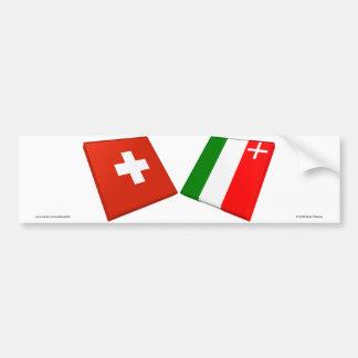 De Vlaggen van Zwitserland en van Neuchâtel Bumpersticker