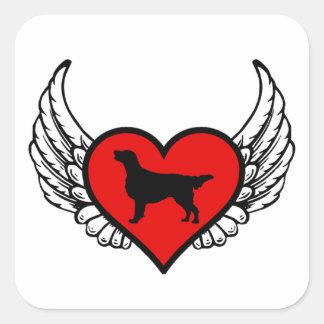 De vlak-met een laag bedekte Honden van de Liefde Vierkante Sticker