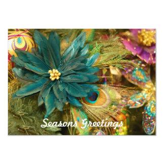 De Vlakke Kerstkaart van de Poinsettia van de Veer 11,4x15,9 Uitnodiging Kaart