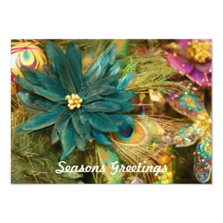 De Vlakke Kerstkaart van de Poinsettia van de Veer Kaart
