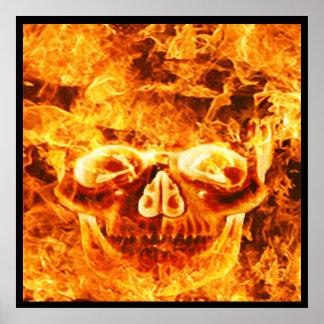 De vlammende Schedel van de Brand Poster