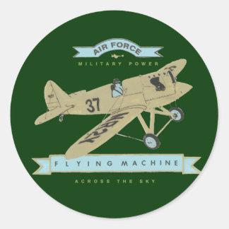 De vlieg van het vliegtuig ronde sticker