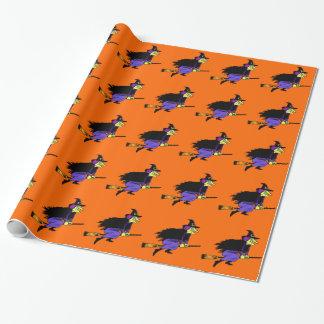 De Vliegende Heks van Halloween Inpakpapier