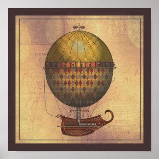 De vliegende Machine van Nautisme Steampunk van Poster