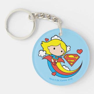 De Vliegende Regenboog van Supergirl van Chibi 2-Zijden Ronde Acryl Sleutelhanger