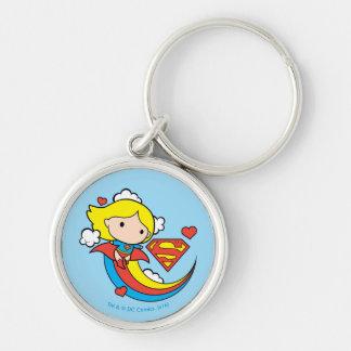 De Vliegende Regenboog van Supergirl van Chibi Zilverkleurige Ronde Sleutelhanger