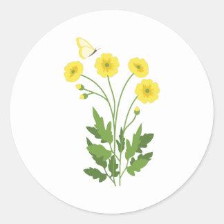 De Vlinder van de boterbloem Ronde Sticker